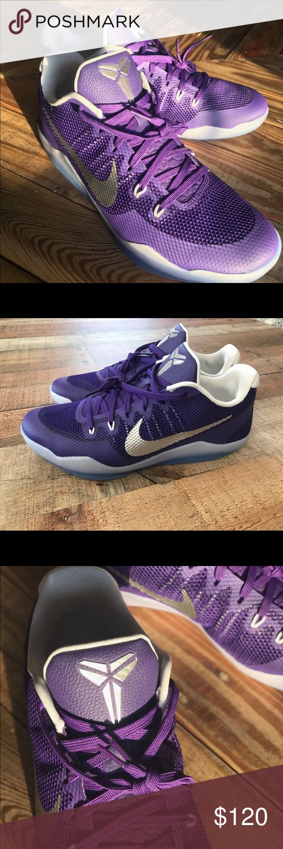 New Nike Kobe XI Elite Low - Lakers Purple Brand New Never worn  Representing Kobe Bryant's resilient return from injuring his Achilles. Webbing with integrated Flywire cables for dynamic midfoot lockdown. TPU-coated open mesh is durable, lightweight, and breathable. External heel counter for lateral stability. Internal stretch bootie for a snug, one-to-one fit. Responsive Lunarlon foam with flex grooves for natural motion. Low-profile, thin rubber for traction. Unique traction pattern for…