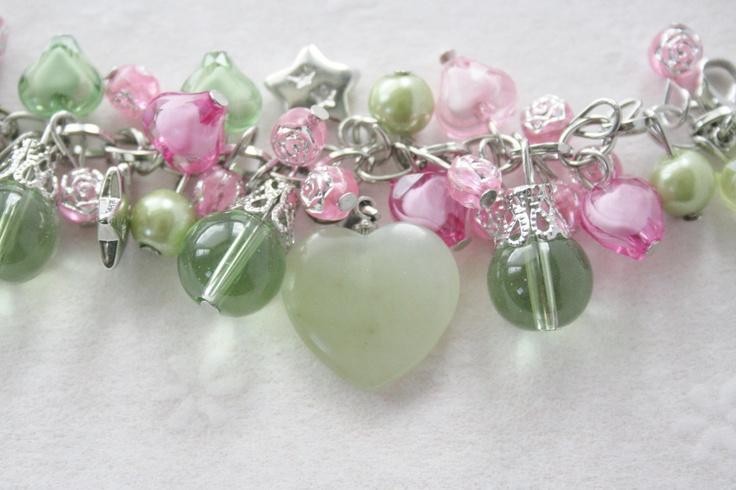 Heart Friendship Bracelet / Charm Bracelet / Handmade OOAK Hearts and Stars Beaded Charm Bracelet. $29.95, via Etsy.