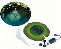 Floating Solar Lily Pond Fountain. This solar lily fountain can floats in sunlight. It looks like a lily pad, which holds the solar fountain. 3 spray nozzles for different sprays and heights.
