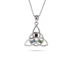 silver kaleidoscope birthstone personalized necklace