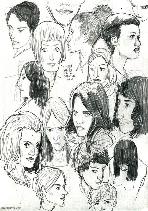 I'm done with my current sketchbook and I filled quite a few pages with faces. Decided to collect some of my favourite spreads here, in no particular order. I've posted most of them already - first one is new, though.Seeing all of them together makes it easier to spot my shortcomings and stuff I need to work on, so that's good! Mostly from imagination, except for a couple of them. (If I'm not mistaken, there's 194 faces in this post. I don't know why I ...