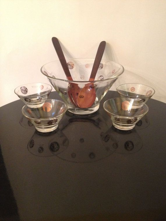International Coin Serving Bowl with Small by juxtaposevintage, $45.00