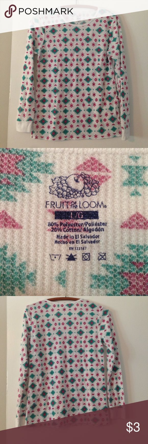 Patterned waffle knit shirt Long underwear undershirt, long sleeves with a pattern. Nice and soft. Best under tee shirts. Fruit of the Loom Tops Tees - Long Sleeve