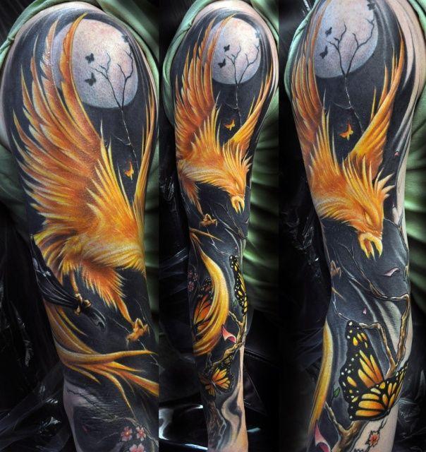 цельная цветная татуировка на всю руку