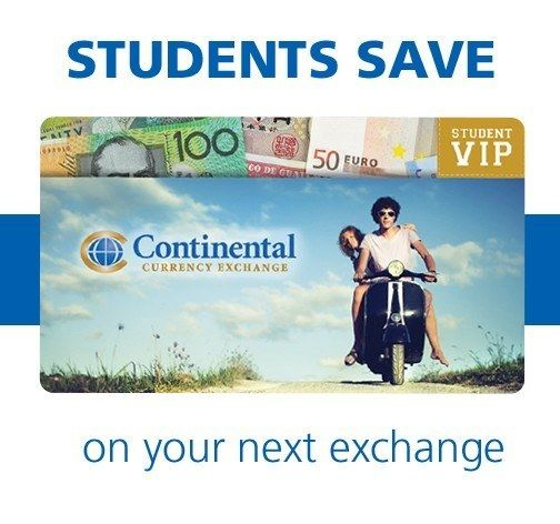 Being a student can get expensive fast, especially if you are going on exchange or travelling - not to mention textbooks and tuition! Thankfully Continental Currency Exchange's new Student VIP Card will get you even lower rates, fewer fees and more perks.