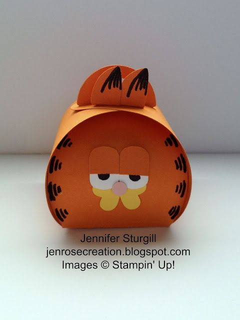 handmade paper box from Jen Rose Creation: Garfield Curvy Keepsake Box .. great punch art creation!