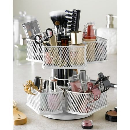 Calling all ladies!  I have this and love it! Great gift idea for the women in your life! Ella Cosmetic Carousel in White. Only $19.95 #Organizer #makeup #storage