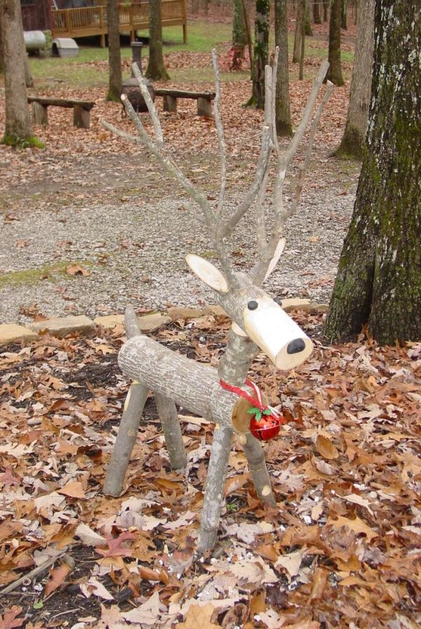 Log Reindeer my husband made for me by Dawne Farrell