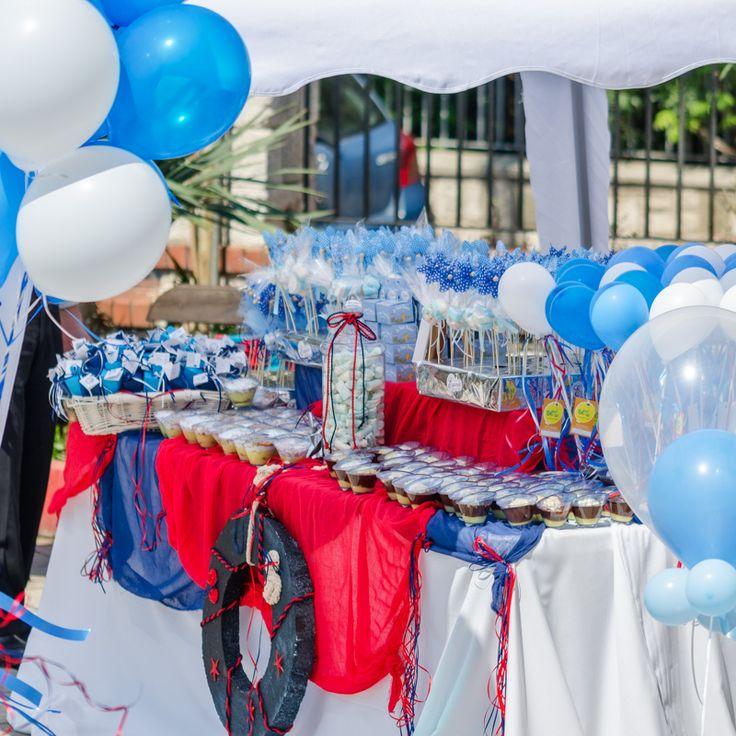 Στολισμός Βάπτισης της Εκκλησίας για αγοράκι σε αποχρώσεις του blue navy και σιέλ με θέμα το Ναυτάκι