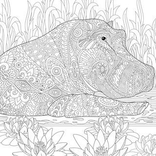 Hippo Indian Painting | Zentangle stylized cartoon hippopotamus (hippo) swimming among lotus ...