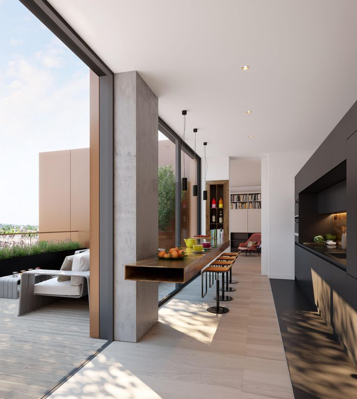 Penthouse Kitchen - The kitchen is at the heart of the apartment and features a generous breakfast bar facing the terrace, ideal for morning gazing over beautiful views of London.