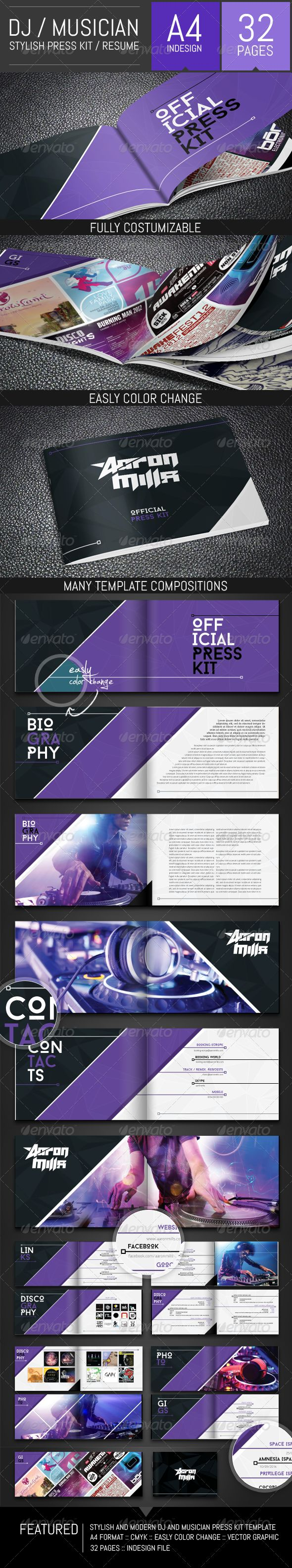 DJ and Musician Press Kit / Resume Template #portfolio #Press Kit #producer • Available here → http://graphicriver.net/item/dj-and-musician-press-kit-resume-template/8487637?s_rank=16&ref=pxcr