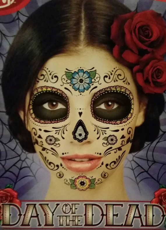 Check out this item in my Etsy shop https://www.etsy.com/ca/listing/249205919/temporary-day-of-the-dead-face-tattoo