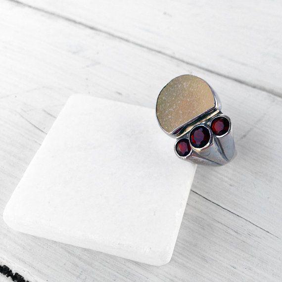 Druzy Multi Gemstone Big Ring Druzy Agate and by SunSanJewelry