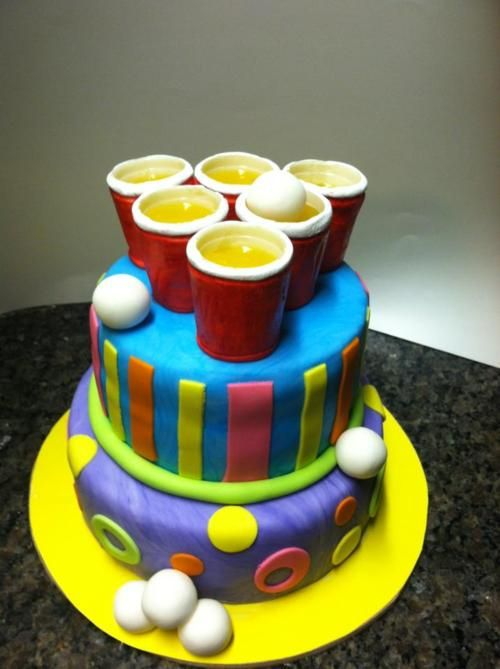 beer pong cake!