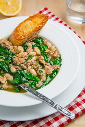 Spinach, White Bean and Turkey Sausage Soup