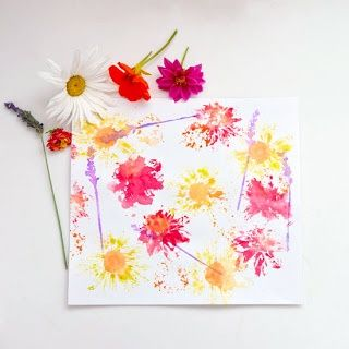 """This is one of my grandkids' favorite crafts. You need flowers from your garden and a piece of white cloth for each child.  Using a hammer or a flat rock, have the children pound the flower into the cloth. The flowers """"stain"""" the material, leaving an impressionist style painting."""
