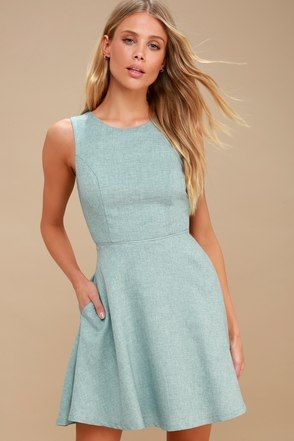 Winsome Mint Blue Backless Skater Dress  cae894019c