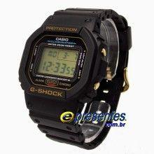 DW-5600EG-9V Relógio Casio G-Shock Tradicional, Série Ouro, Original, 1 Ano Garantia