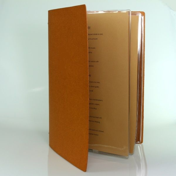 Natural leather Restaurant Menu cover with 4 pockets