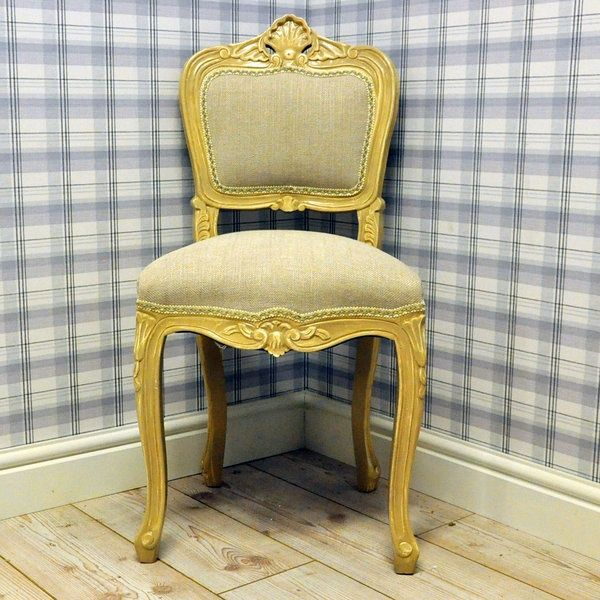 French Kitchen Chairs: French Style Linen Louis Bedroom Chair
