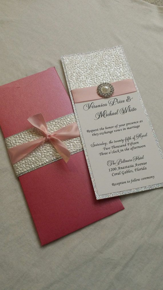 Glitter Wedding Invitation Embossed Pebble by SincerelyCouture