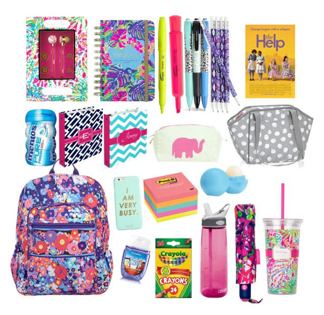 """""""School supplies"""" by emmakathryn18 ❤ liked on Polyvore featuring interior, interiors, interior design, home, home decor, interior decorating, Vera Bradley, Lilly Pulitzer, Post-It and Eos"""