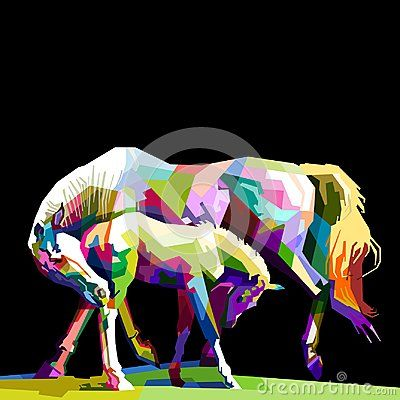 Horse wildlife animal cartoon pop art drawing colorful collection wallpaper artwork vector geometric illustrations design background popart jungle concept texture nature mammal draw mosaic cubism