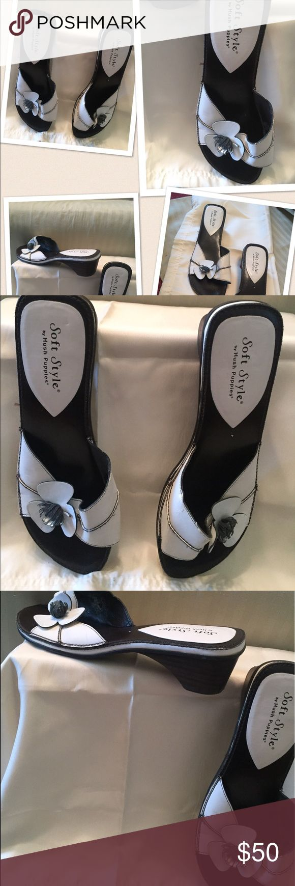 White Hush Puppy flip flops Very comfortable.... clean white....Low heel! Hush Puppies Shoes Sandals