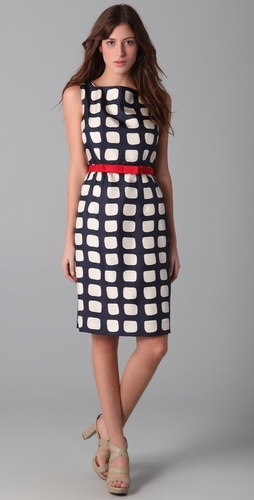 This Adrianne Square Print Sheath Dress is another stunner by Milly. How perfect is that red bow belt?