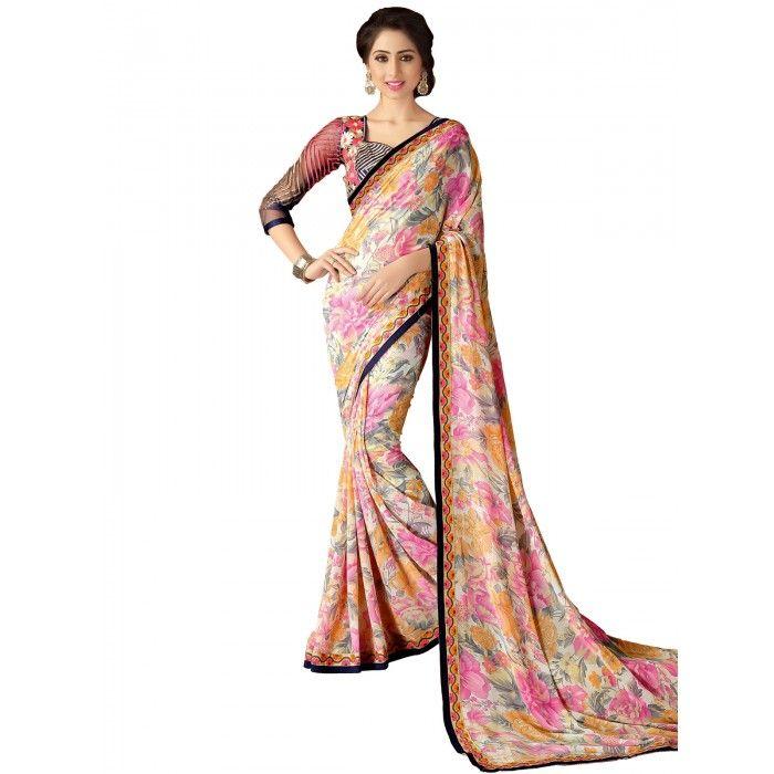 Pretty Multicolour Printed Saree on SmartDeals4u.com