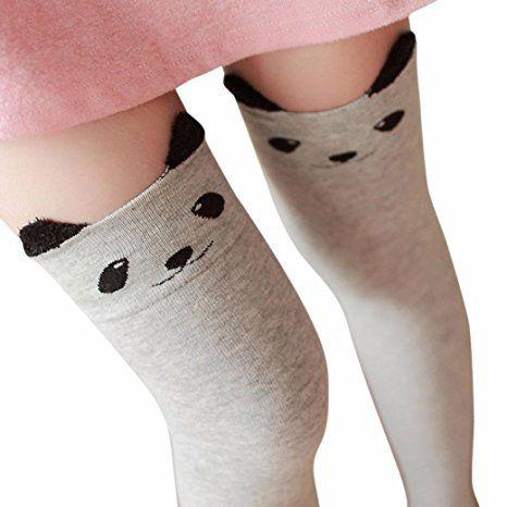 Leg Warmers DZT1968 Women Cat Bear Panda Over Knee Long Thigh-High Socks (Gray)