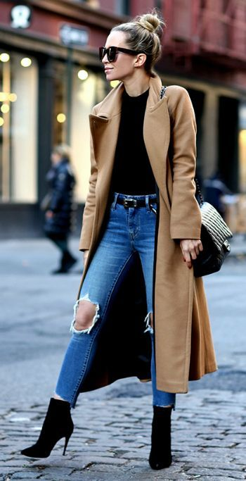Helena Glazer   kills it   cute winter style   distressed denim jeans   oversized camel coat   spike heeled booties   perfect edgy feel!  Coat: Mackage, Bodysuit: Only Hearts, Denim: Levis, Belt: Saint Laurent, Booties: Louboutin.