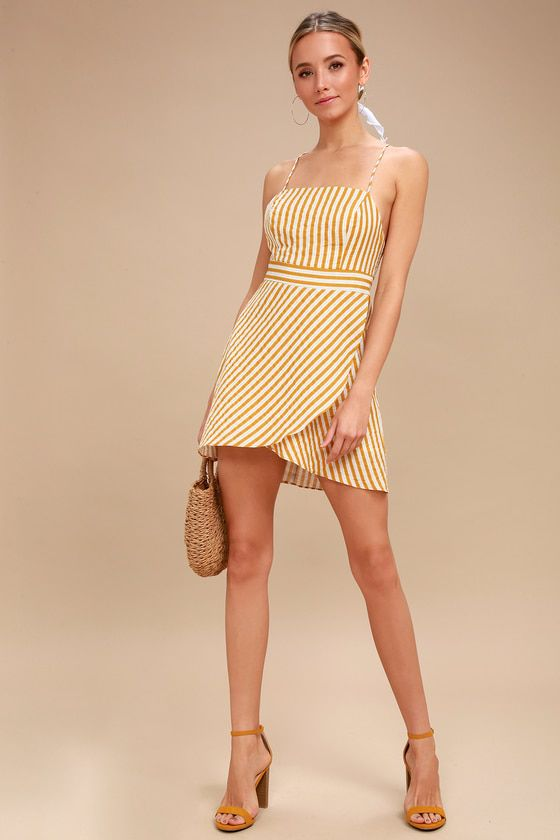a8805529fd Central Park Yellow and White Striped Dress 1