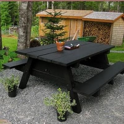 Chalkboard paint on a picnic table...fun, entertaining, and customizable for party themes! Kids would have a blast creating their eating space!