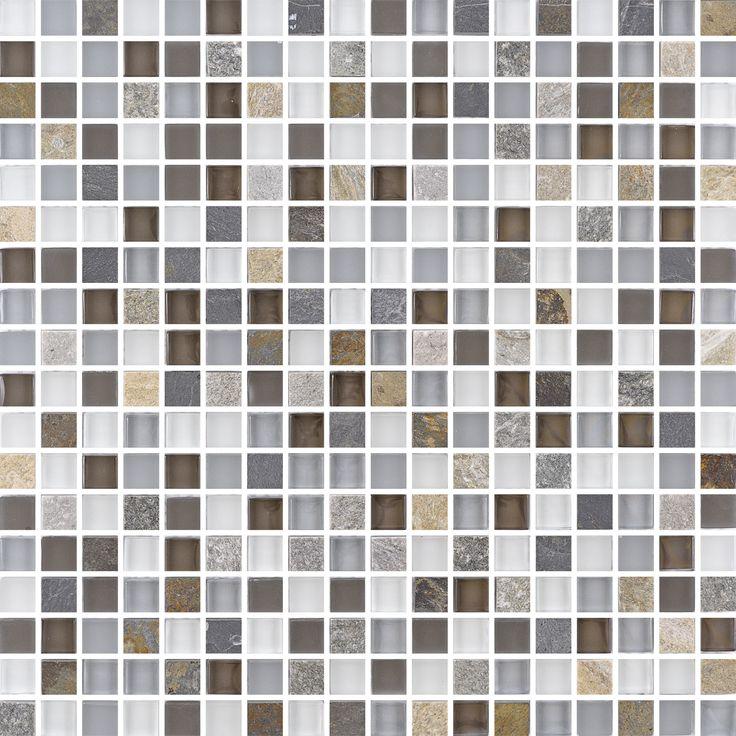 T1515 Slate Mix Stone. Glasmosaik blandad med bitar av skiffer.