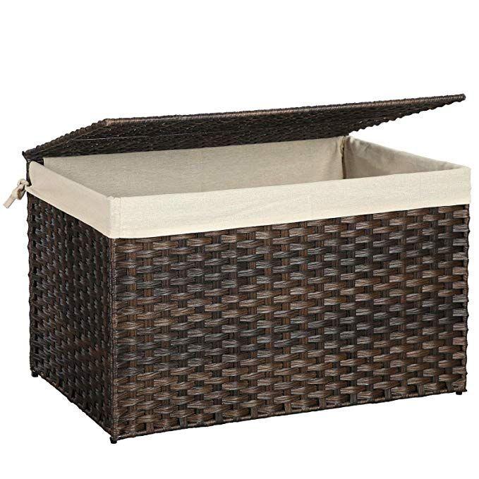 Amazon Com Songmics Storage Box With Cotton Liner Rattan Style Storage Basket Laundry Hamper With Lid In 2020 Laundry Hamper With Lid Storage Baskets Laundry Hamper #storage #box #for #living #room