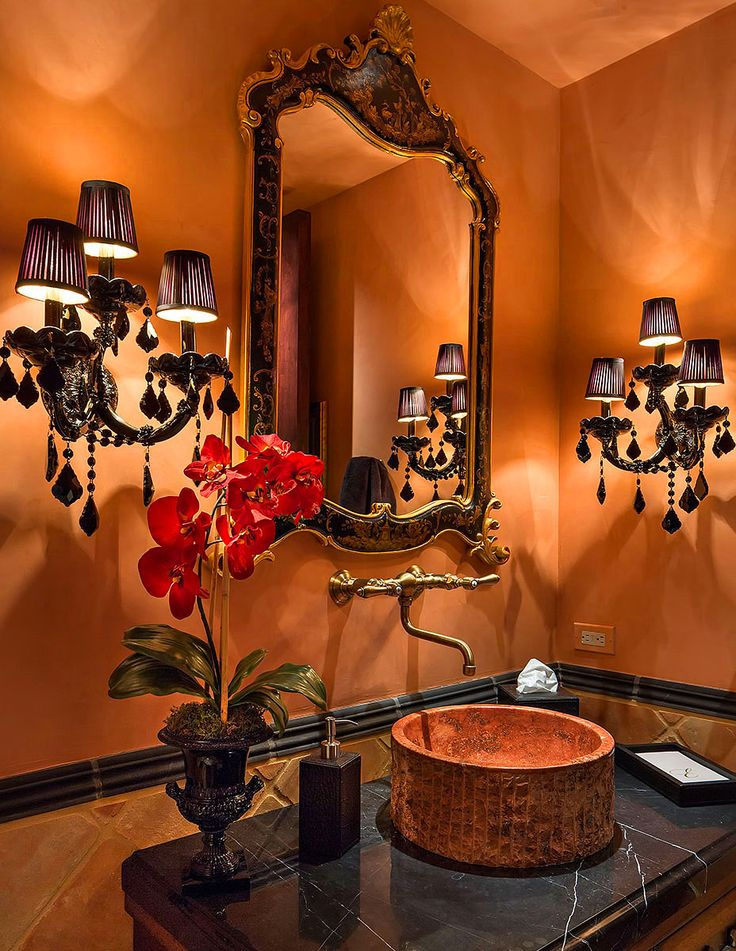 HOME SWEET HOME | bath room.. I love the burnt orange and chocolate brown together.. makes this bathroom so elegant and beautiful... future home ideas check.