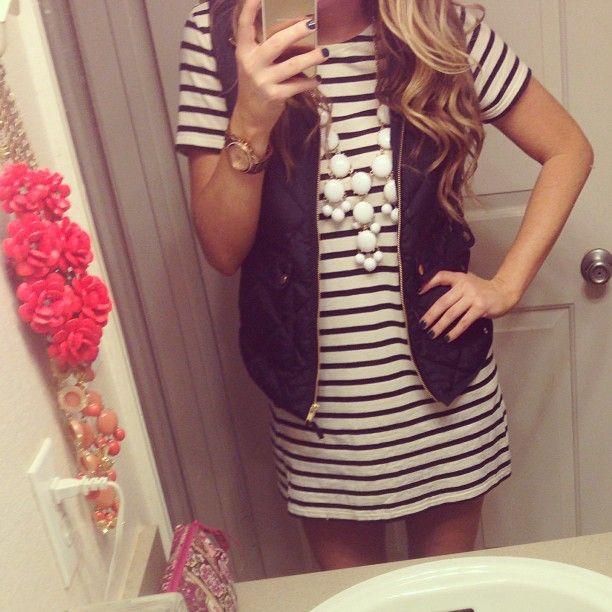 stripes + vest + bubble necklace