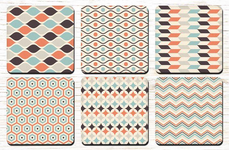 Retro Pattern Coasters - Retro Style - Retro Geometric Pattern - 60s Style - 60s Retro - 60s - 70s - Drink Coasters - Decorative Coasters by RegalosOnline on Etsy