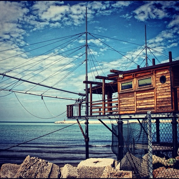 "Hello to everybody... This picture of the ""Trabocco"" in Pescara was taken by and belongs to @polymar77. The Trabocchi you can find on the coast in our Abruzzo region From #Francavillaalmare, #Ortona, #SanVitoChietino, #RoccaSanGiovanni, #Fossacesia, #TorinodiSangro, #Casalbordino, #Vasto and #SanSalvo. Some are still used as and transformed into restaurants. Want to live our Adriatic sea experience 360degrees? Visit one of these... If you have all liked and appreciated the beauty of this…"