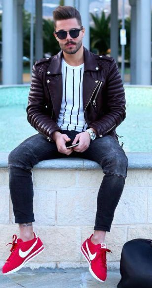 Denim+with+Red+Sneakers+And+Leather+Jacket