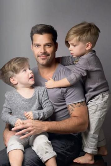 Ricky Martin ne Enrique Martin Morales, San Juan PR, (1971- ), singer. Pictured with twin sons.