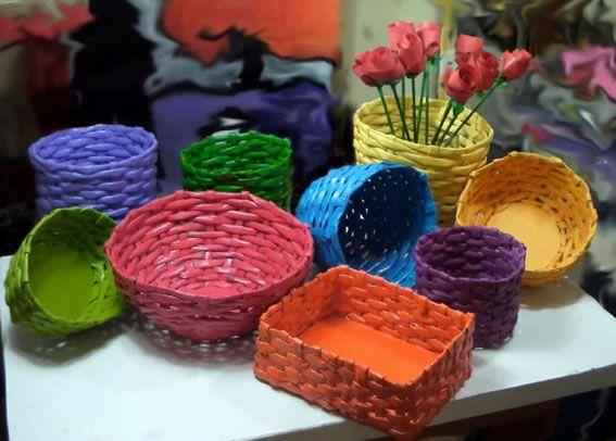 Como fazer cesta com jornal passo a passo - Artesanato Brasil