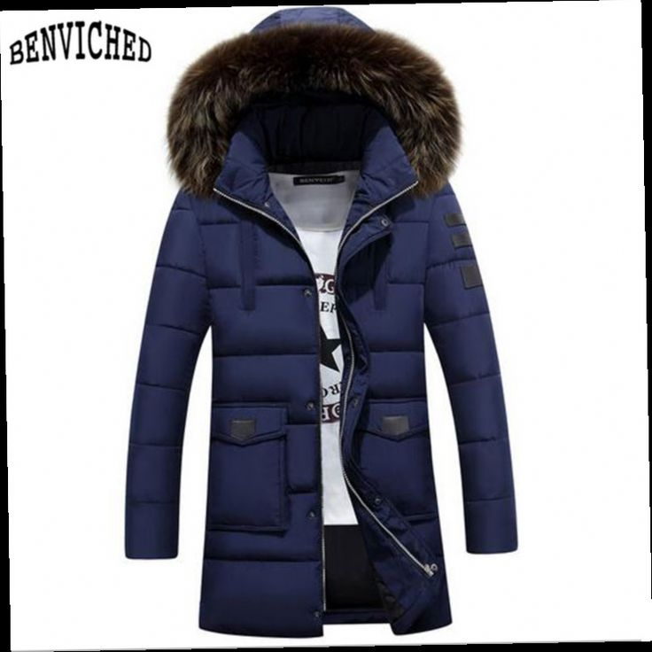 42.37$  Watch now - http://aliw8h.worldwells.pw/go.php?t=32746339055 - Men Overcoat Winter Solid Long Thick Jackets And Coats Male Fashion Slim Winter Jacket Mens Slim Fit Casual Warm Hooded Parka