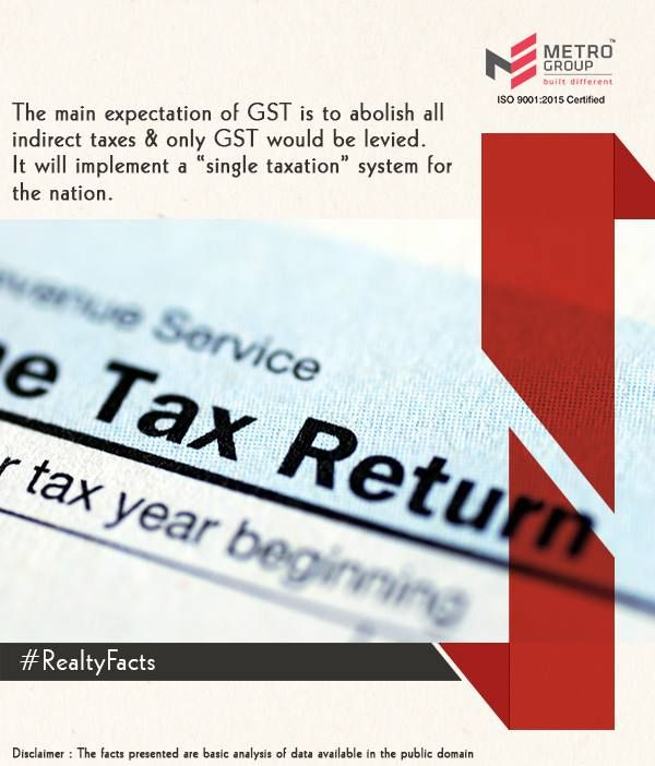 """#RealtyFacts The main expectation GST is to abolish all indirect taxes & only GST would be levied. It will implement a """"single taxation"""" system for the nation. www.metrogroupindia.com #realtyfacts #GST #realty #estate #news #regulations #rightmove #builders #property #homes #BHK #betterliving #afforablehomes #mumbai #betterIndia"""
