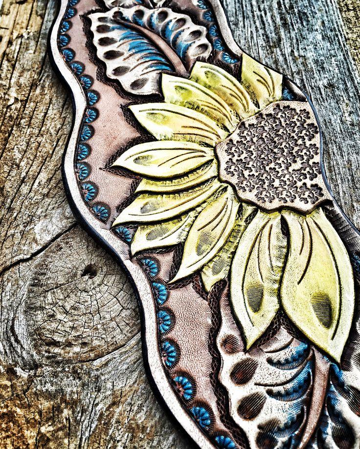 Sunflower bronc halter noseband. Hand tooled by ArteVae