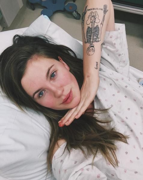"Ireland Baldwin posted this selfie, from her hospital bed, on Nov. 20. (Photo: Instagram) Did Ireland Baldwin injure herself getting another tattoo? It's not likely, but she is showing off her new ink from her hospital bed. The model/famous kid, 20, was vague about what is ailing her, writing, ""When"