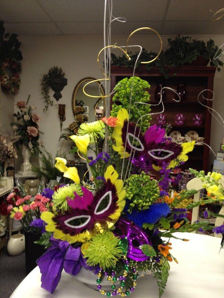 10 best images about mardi gras arrangements on pinterest for Flower arrangements for parties