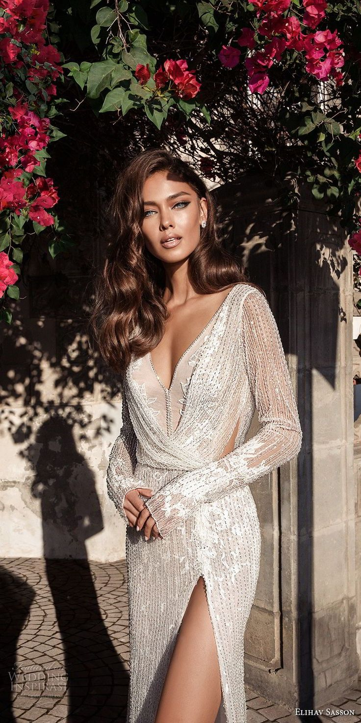 elihav sasson 2018 capsule bridal long sleeves v neck full embellishment high slit skirt sheath wedding dress open back chapel train (11) zv -- Elihav Sasson 2018 Royalty Girl Capsule Collection #weddingdress